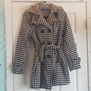 Herringbone Tie Front Pea Coat